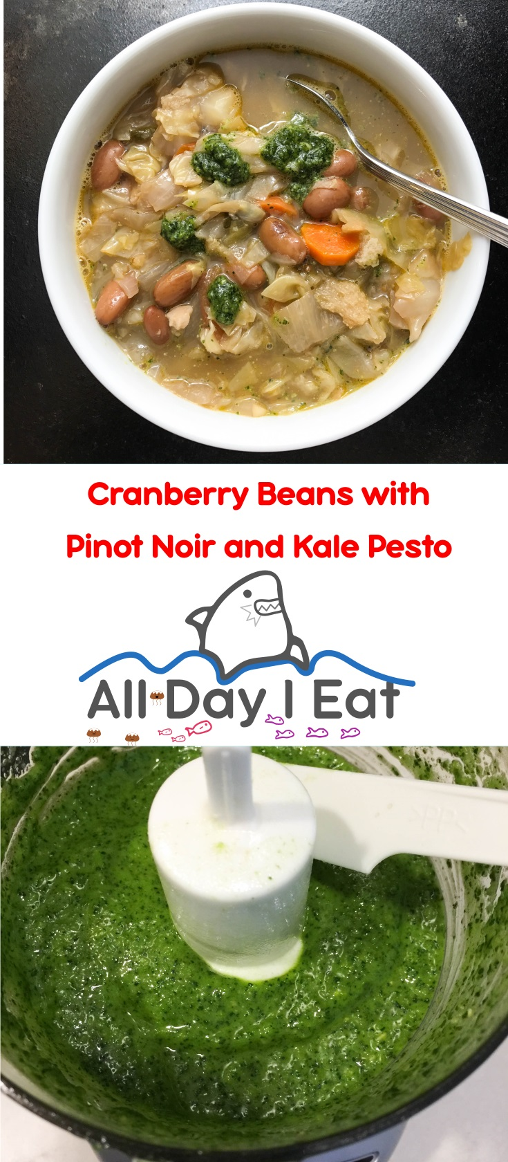 Cranberry Beans with Pinot Noir and Kale Pesto. A delicious and healthy way to get more beans and vegetables in your diet. A little wine is the secret to creating a delicate flavor in this hearty soup. | www.alldayieat.com