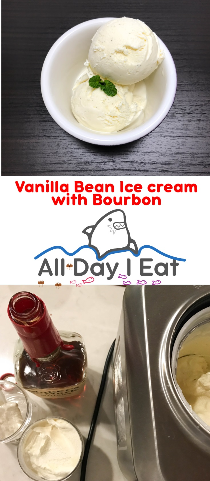 Vanilla Bean Ice cream with Bourbon. A sophisticated ice cream for adults, a rich and deep vanilla flavor is complemented with a splash of bourbon. | www.alldayieat.com