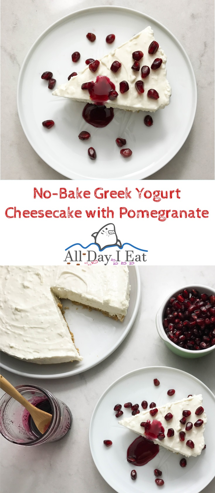 No-Bake Greek Yogurt Cheesecake with Pomegranate so good you'll want to eat it all up yourself!