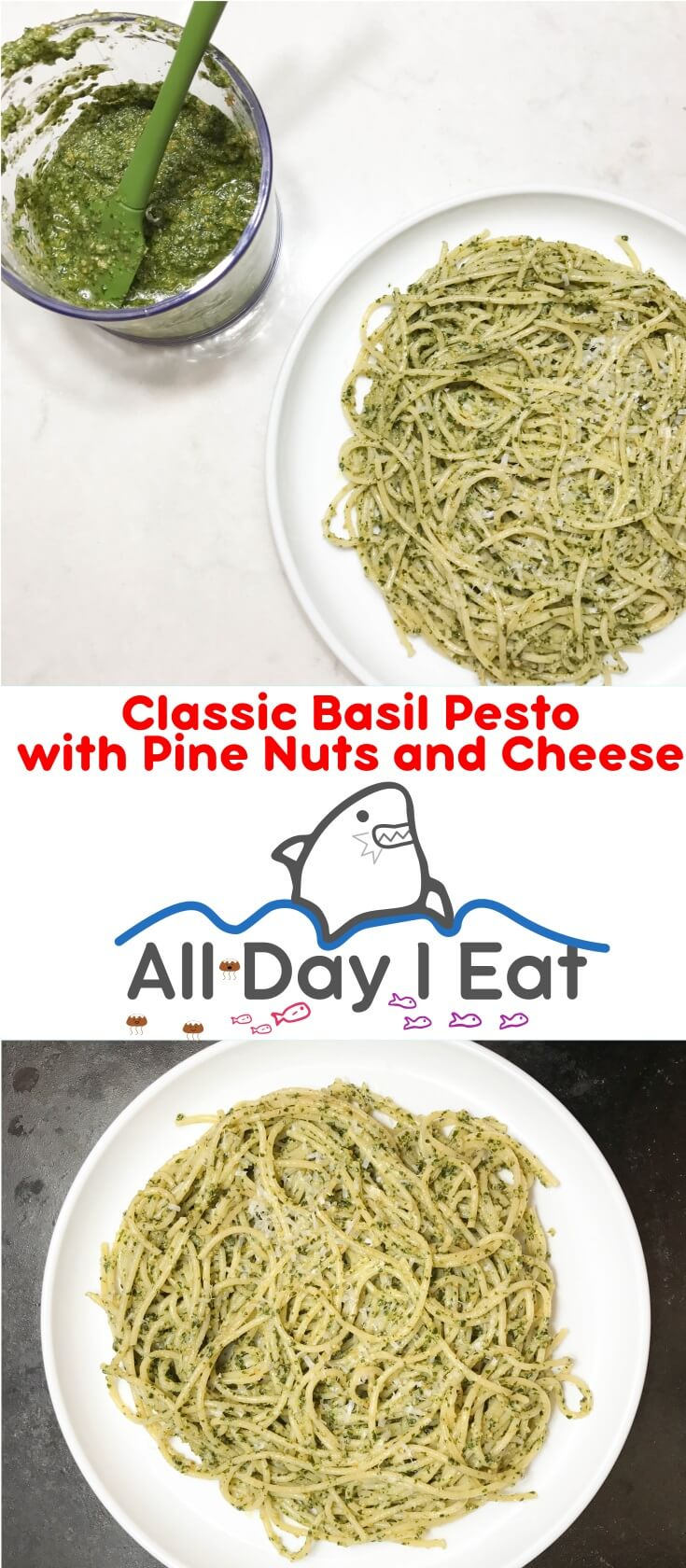 Classic Basil Pesto with Pine Nuts and Cheese. I made this with my Aerogarden grown hydroponic Sweet Italian Basil! It was one of the best I've ever tasted you have to try it!!! | www.alldayieat.com