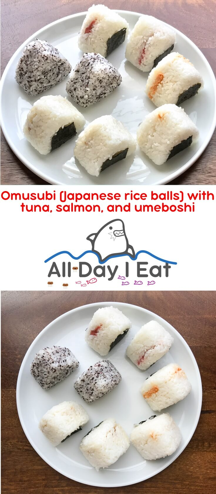 Omusubi are Japanese rice balls filled with savory things like tuna with mayonnaise, beef, salted salmon, mentaiko and umeboshi. A delicious snack that fits in the palm of your hand! | www.alldayieat.com