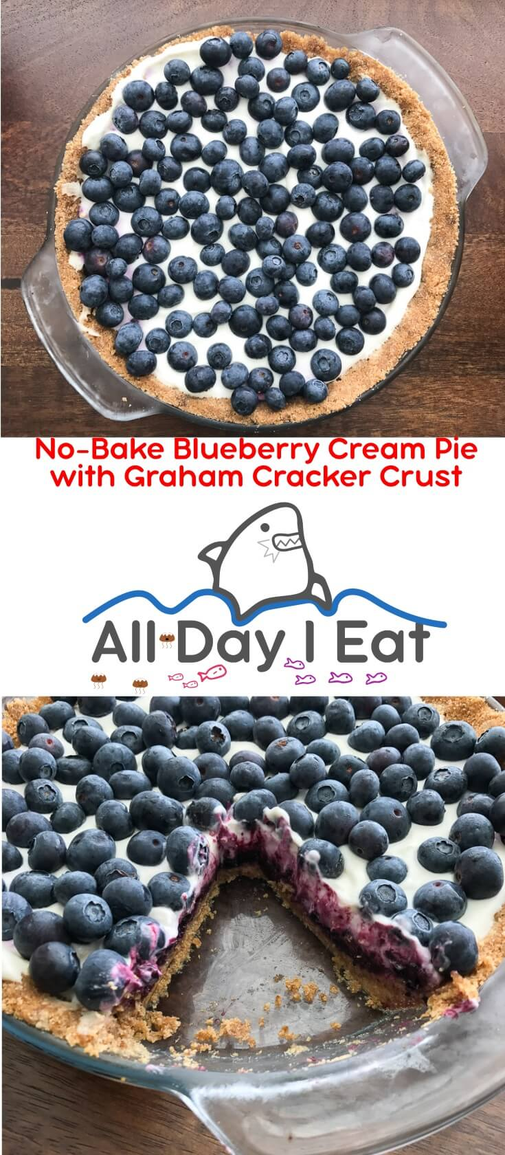 No Bake Blueberry Cream Pie with Graham Cracker Crust is a taste of summer you won't forget. Best served chilled, this pie filling is rich, creamy, and fruity with just the right amount of sweetness. The graham cracker crust is classic and one you can repurpose for other no bake desserts like my other favorite, cheesecake!