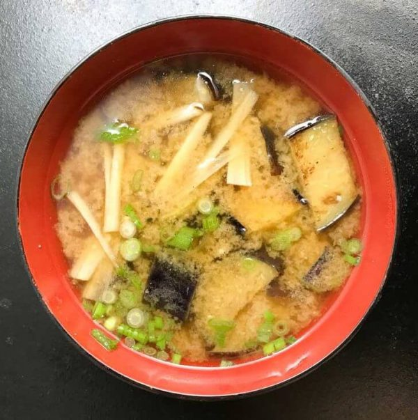 Miso Soup with Eggplant and Gobo