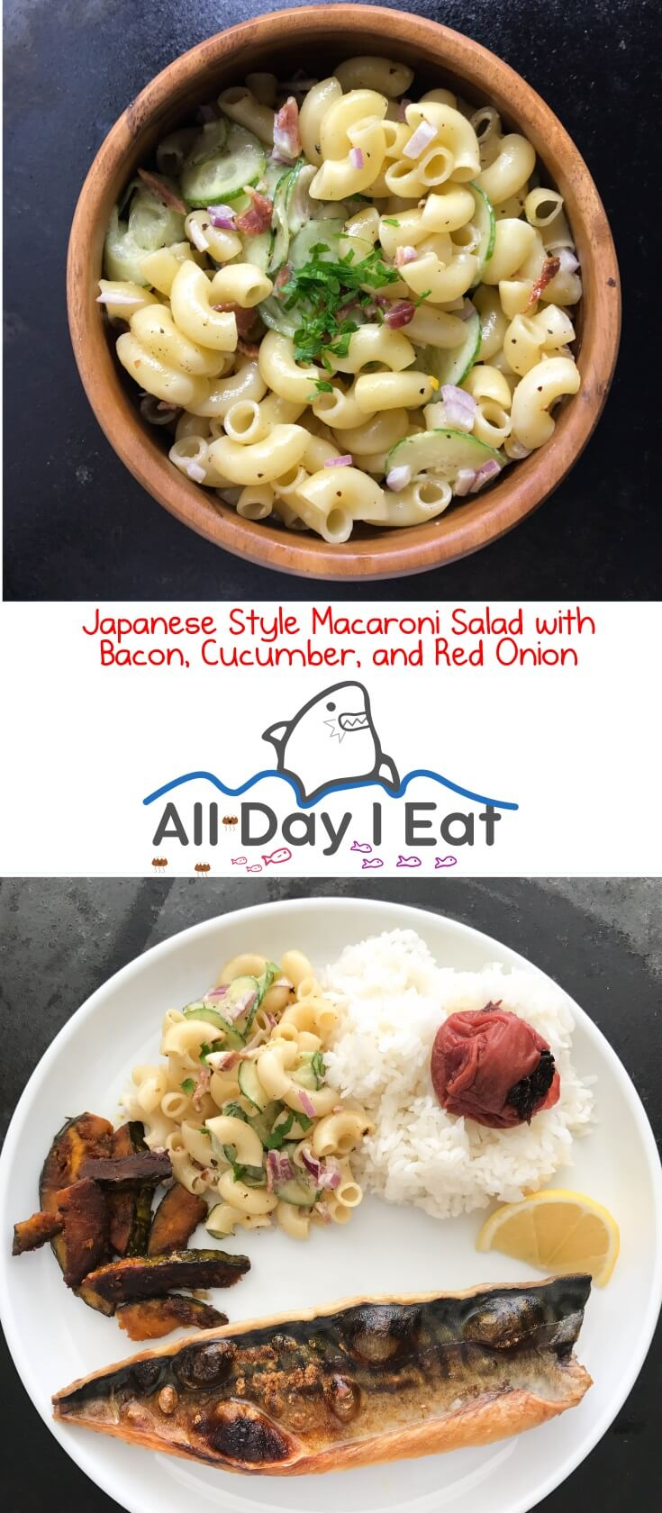 Japanese Style Macaroni Salad with Bacon, Cucumber, and Red Onion. A light tasting side that can accompany almost any entree! | www.alldayieat.com