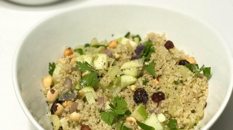 Warm Autumn Quinoa Salad with Hazelnuts, Apple, and Cranberries | www.alldayieat.com