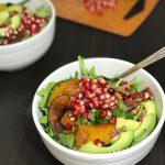 Arugula Salad with Roasted Kabocha, Pomegranate and Avocado | www.alldayieat.com