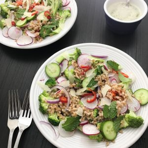 Warm Farro Salad with Easter Egg Radishes and Broccoli | www.alldayieat.com