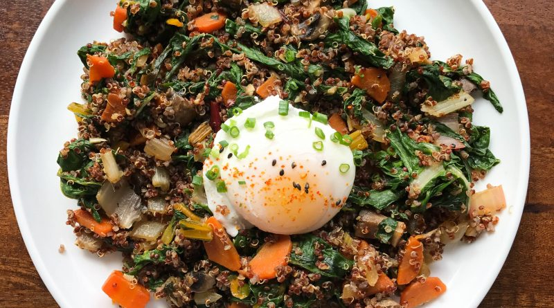 Red Quinoa, Chard, Carrots, Onion, and Poached Egg | www.alldayieat.com
