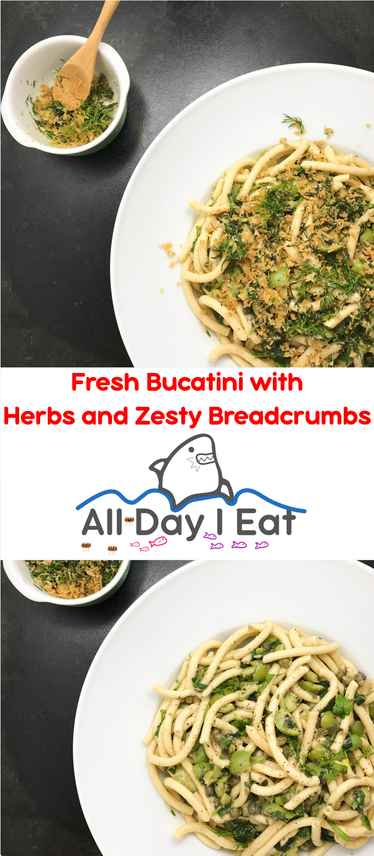 Bucatini with Fresh Herbs and Zesty Breadcrumbs. Make this with fresh pasta to allow the herbs and olives shine like the sun! | www.alldayieat.com