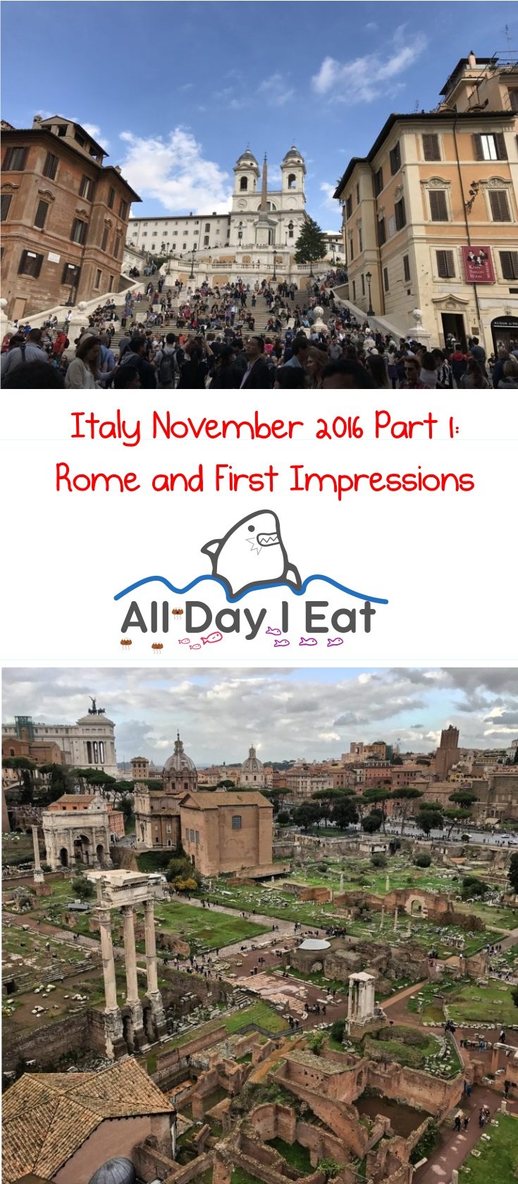 Italy November 2016 Part 1: Rome and First Impressions- Ideas and info for your next visit! | www.alldayieat.com