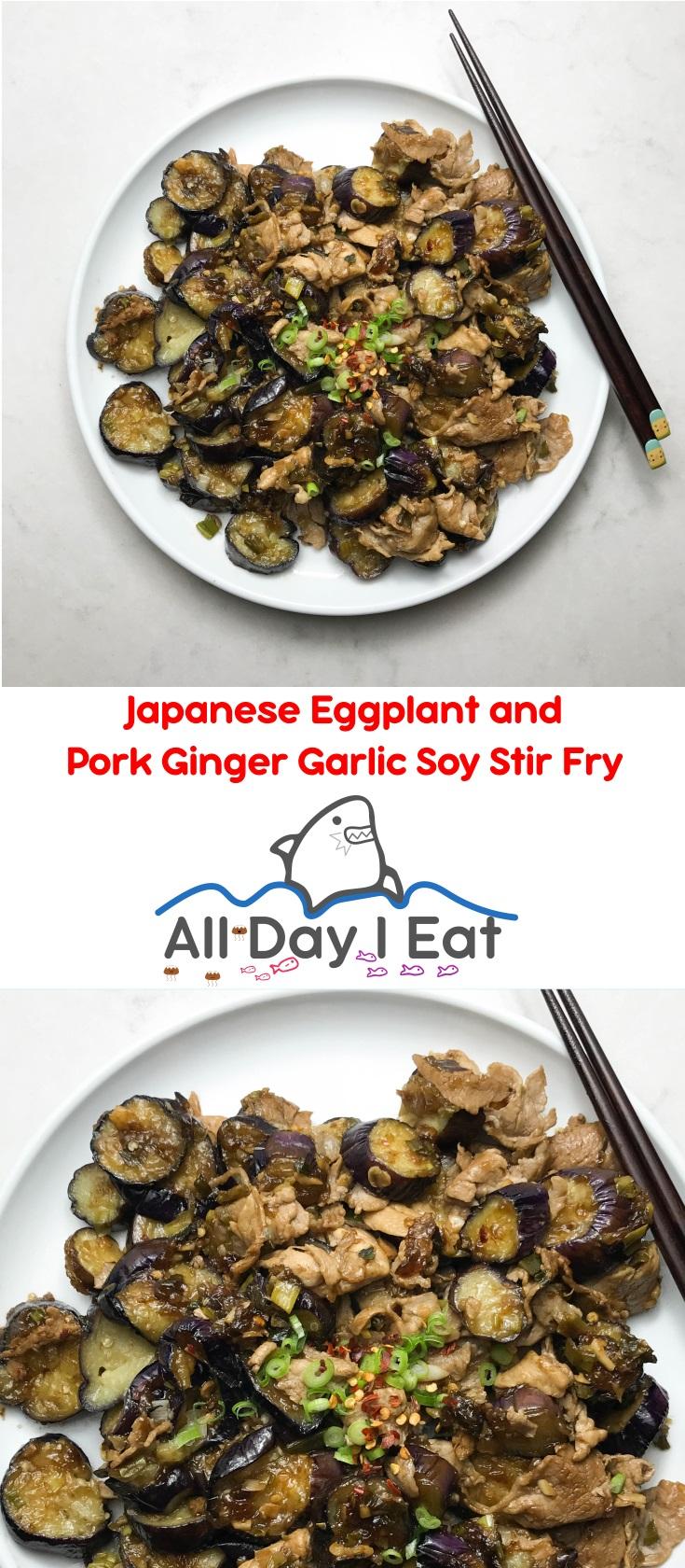 Japanese Eggplant and Pork Ginger Garlic Soy Stir Fry | www.alldayieat.com