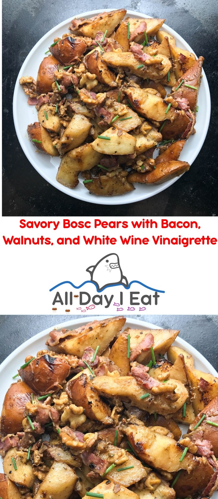 Savory Bosc Pears with Bacon, Walnuts, and White Wine Vinaigrette | www.alldayieat.com