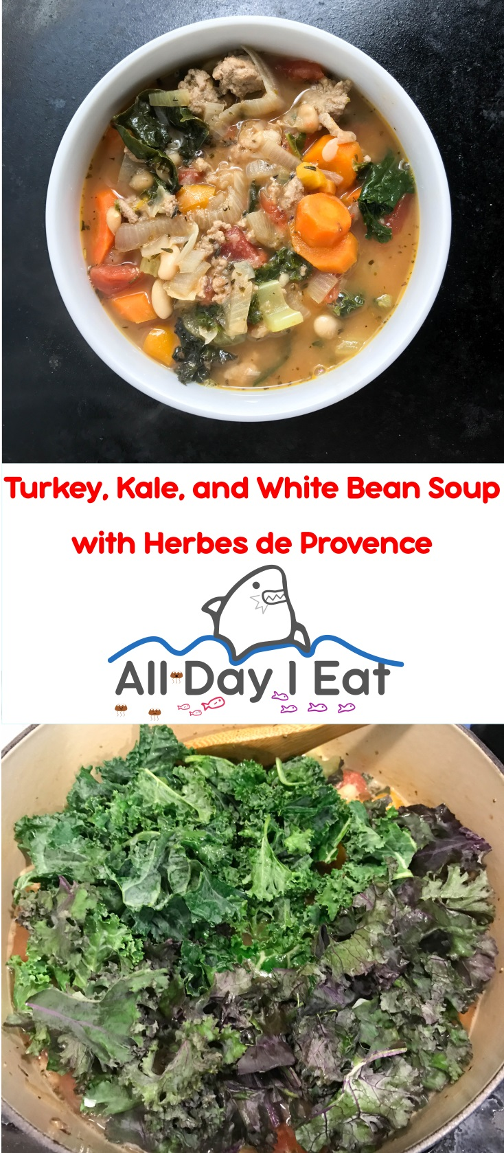 Turkey, Kale, and White Bean Soup with Herbes de Provence | www.alldayieat.com
