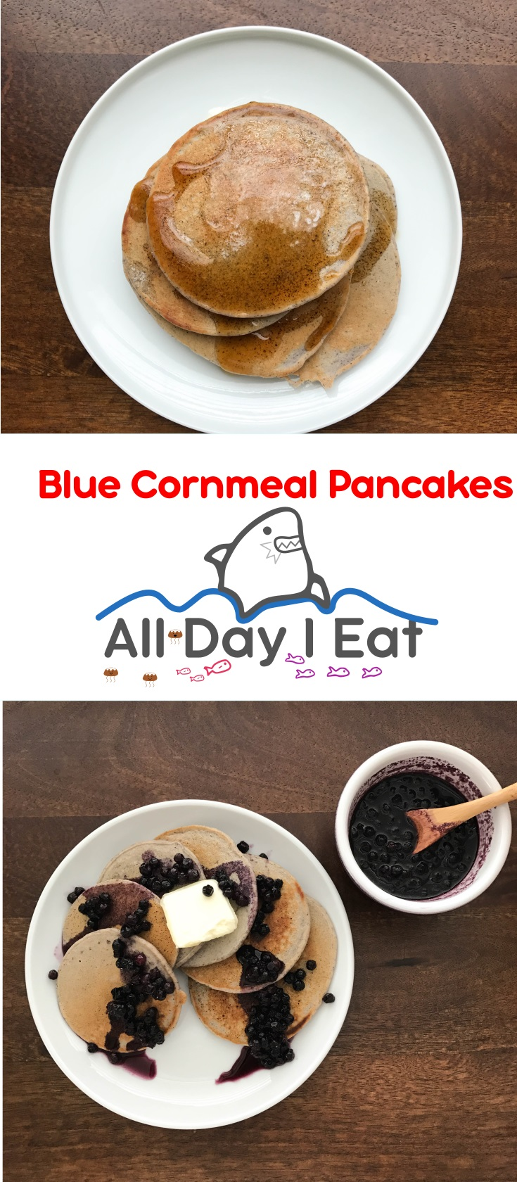 Blue Cornmeal Pancakes! An easy and delicious alternative to flour based pancakes! Cornmeal adds texture and nutrition to your favorite breakfast meal. | www.alldayieat.com