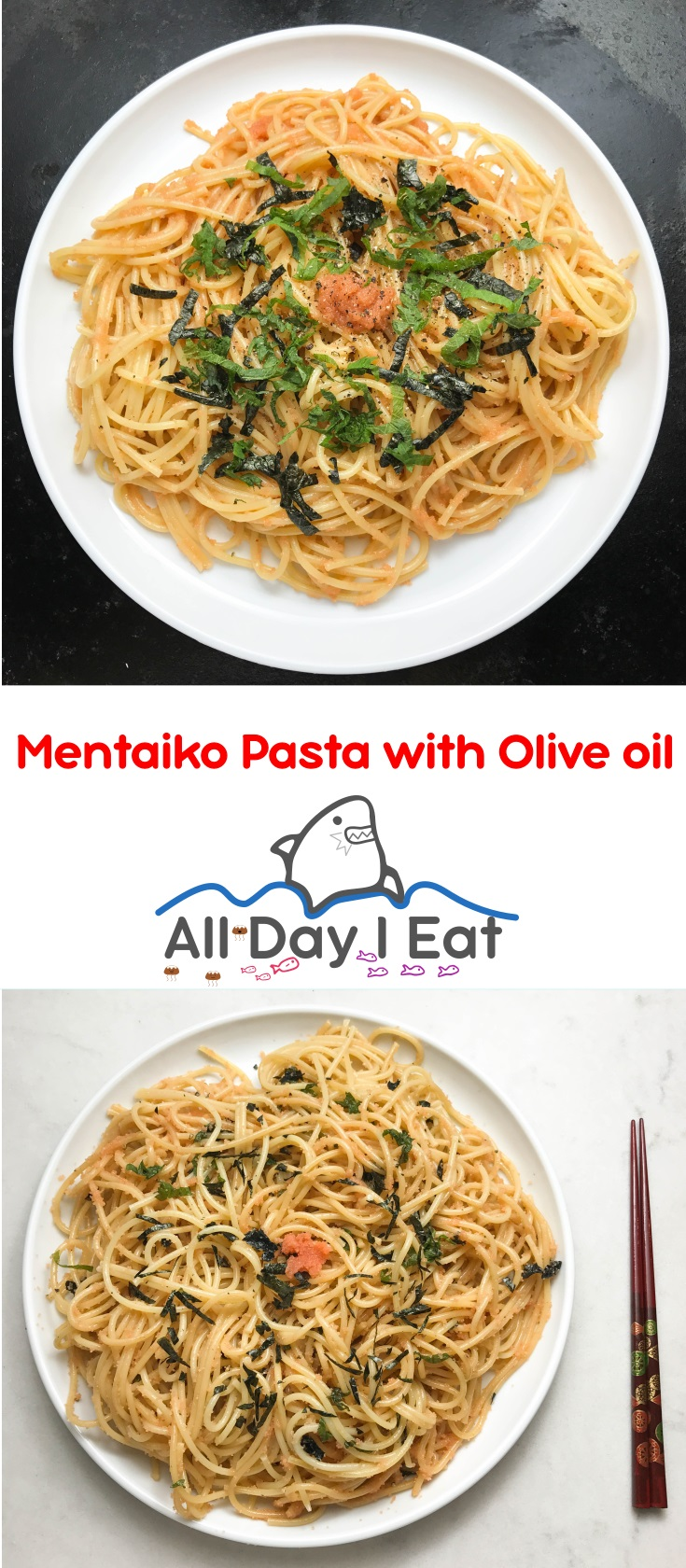 Mentaiko Pasta with Olive Oil and Shiso - A Savory Japanese style Pasta you Must try!! | www.alldayieat.com