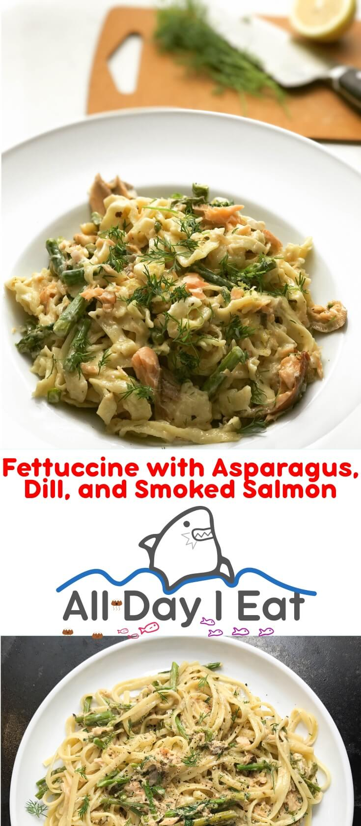 Fresh Fettuccine with Asparagus, Dill, and Smoked Salmon. A delicious and decadent way to enjoy salmon and asparagus. Cream, lemon and dill take this over the top and transform this pasta into edible magic. | www.alldayieat.com