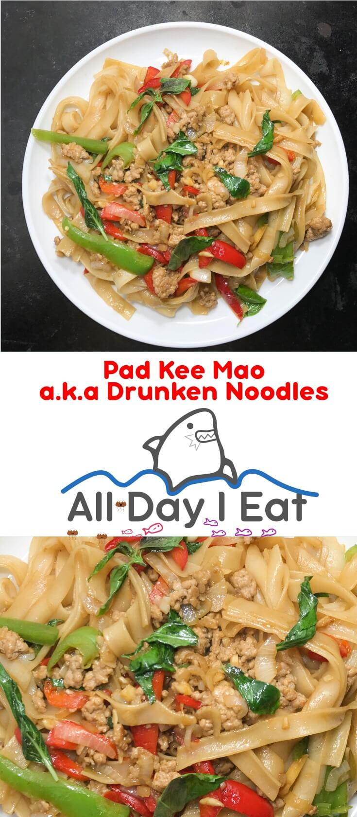 Pad Kee Mao a.k.a drunken noodles! One of the tastiest and most comforting Thai Stir Frys you can make, and it's super easy!! | www.alldayieat.com