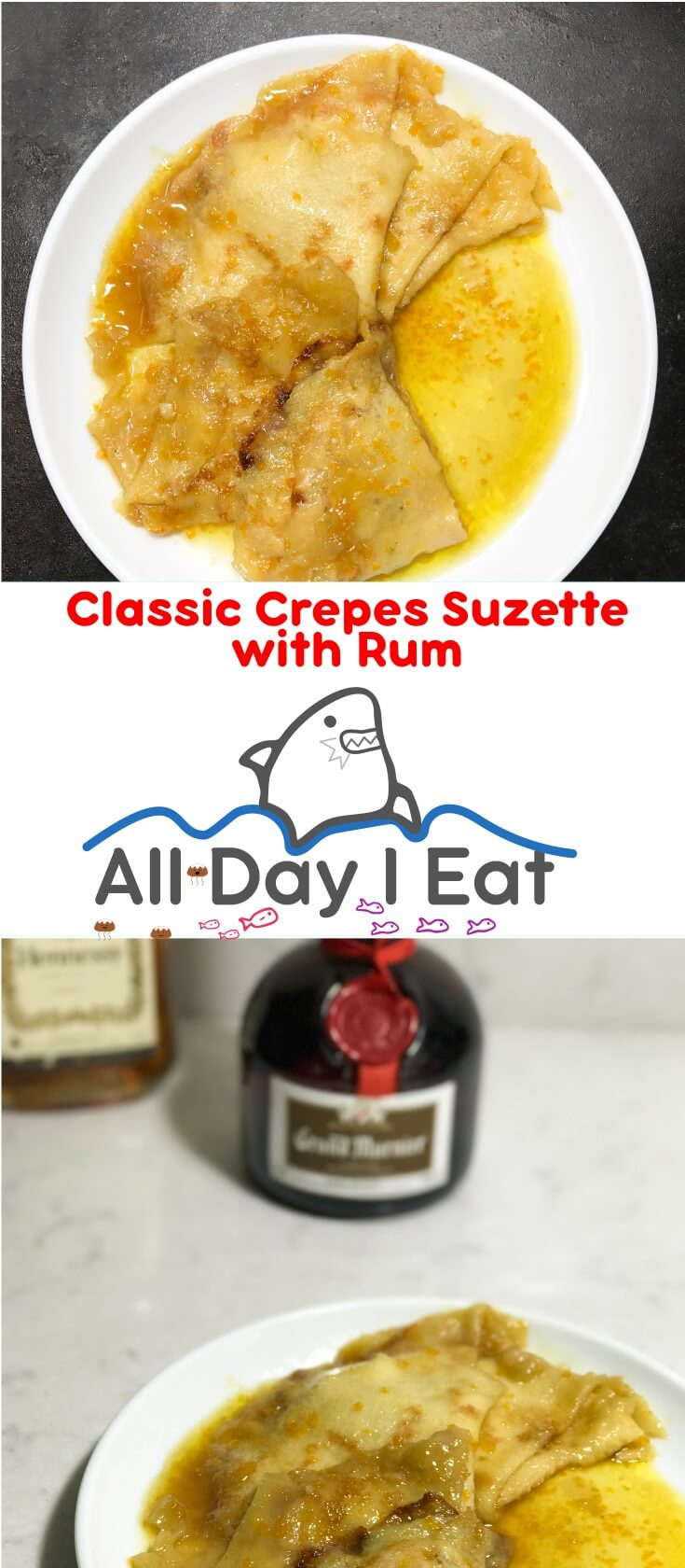 Classic Crepes Suzette with Rum. A rich, delicate, and boozy dessert with a strong orange aroma. Sure to please and impress!!