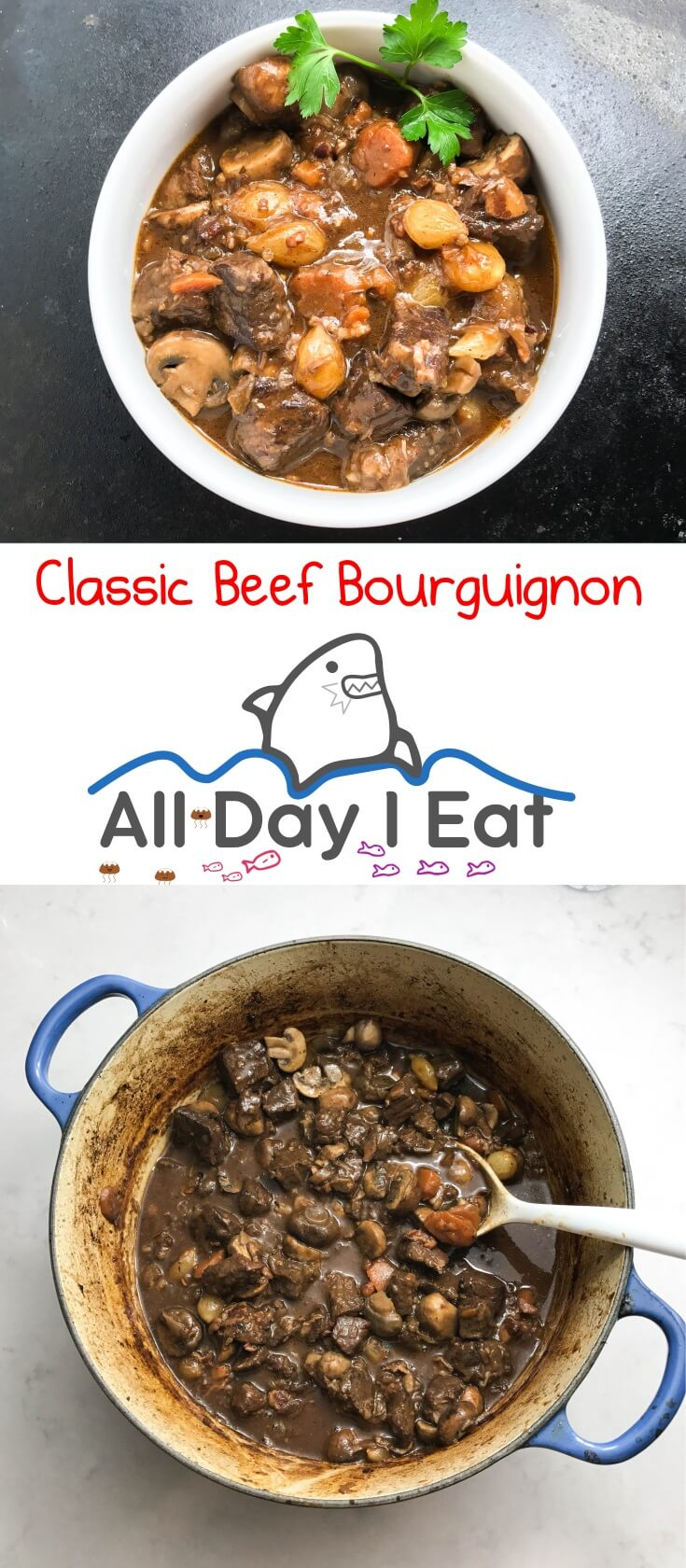 This is the French Classic Beef Bourguignon! It's so delicious that this could very well be the gold standard for beef stew! | www.alldayieat.com