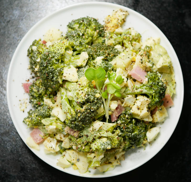 Japanese Style Broccoli Salad with Egg and Ham