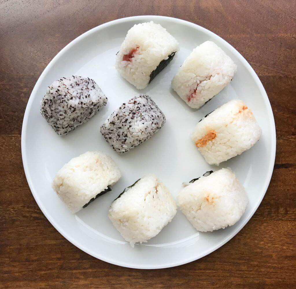 Omusubi (Japanese rice balls) with tuna, salted salmon, and umeboshi