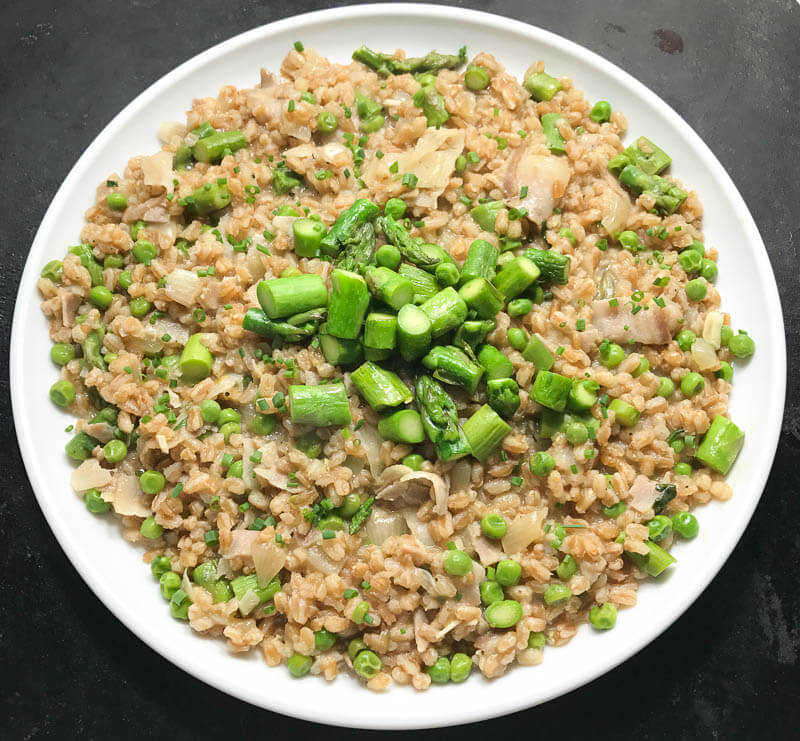 Farroto with Asparagus, Peas, and Fresh Herbs-5