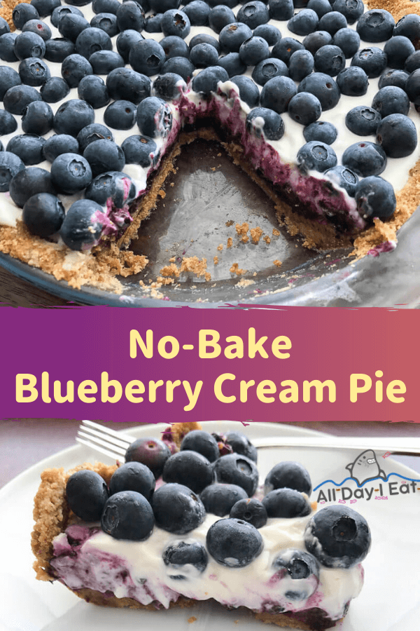 No-Bake Blueberry Cream Pie with Graham Cracker Crust