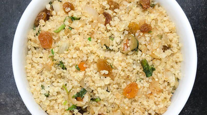 Quinoa with Pimento Stuffed Olives, Gold Raisins, and Cilantro-2
