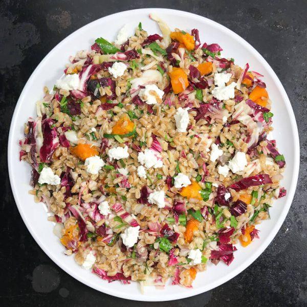 Warm Farro salad with Butternut Squash and Radicchio