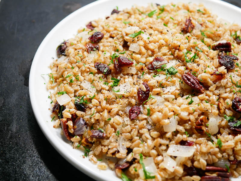 Warm Farro with Buttered Onions, Cranberries, and Pecans-4
