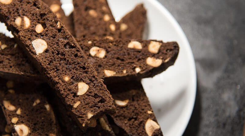chocolate hazelnut biscotti side view