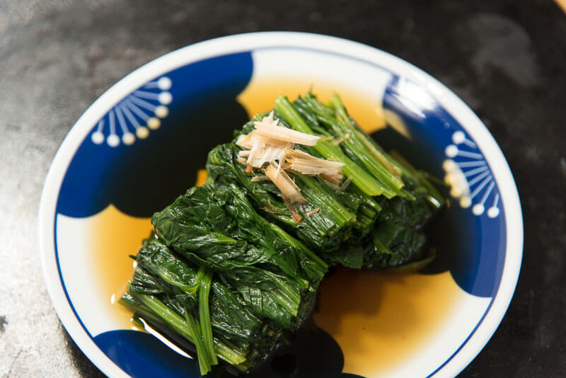 Japanese spinach side dish ohitashi