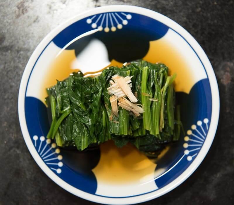 Japanese spinach side dish ohitashi