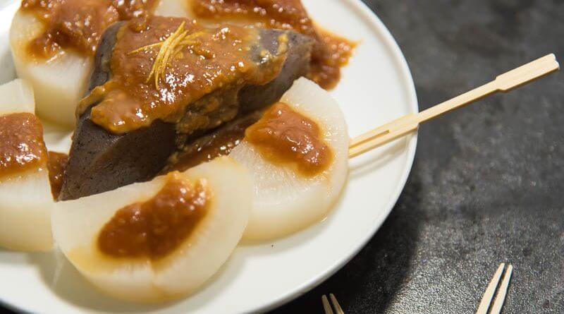 daikon and konnyaku dengaku (miso glaze)- plate