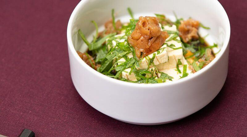 Shiso umeboshi hiyayakko cold tofu with soy sauce vinegar