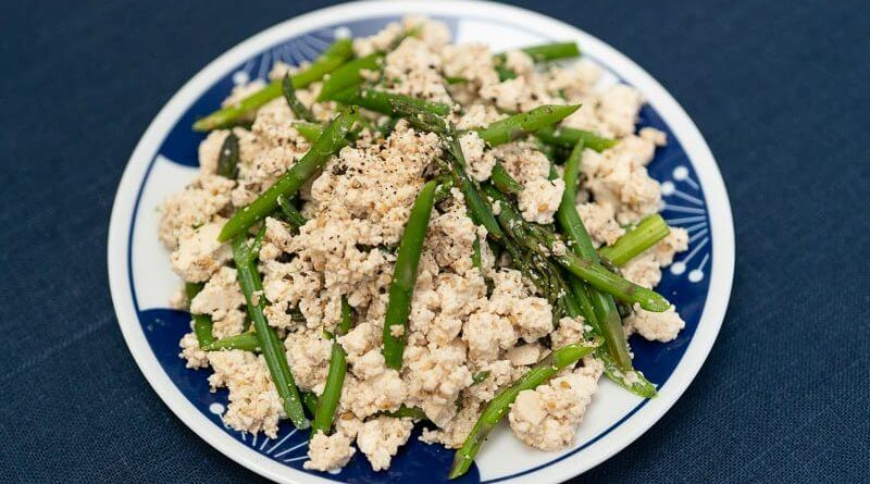 asparagus shira ae with japanese tofu