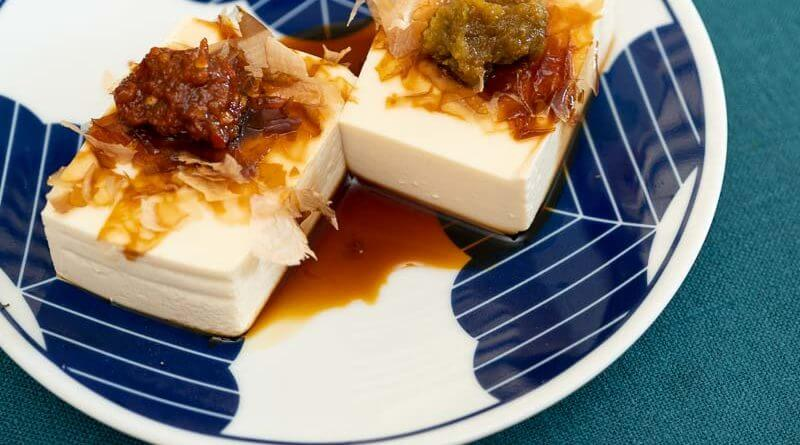 hiyayakko japanese cold tofu with soy sauce and yuzukosho