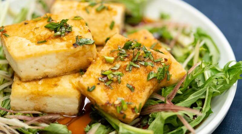 japanese tofu steak salad with mizuna and myoga
