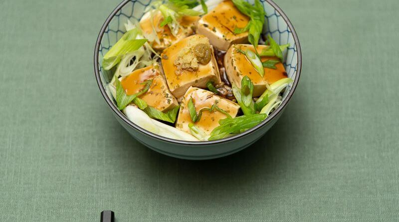 tofu donburi with dashi ankake sauce and green onions