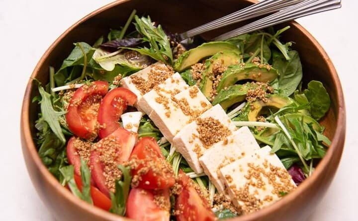 tofu salad with sesame vinaigrette