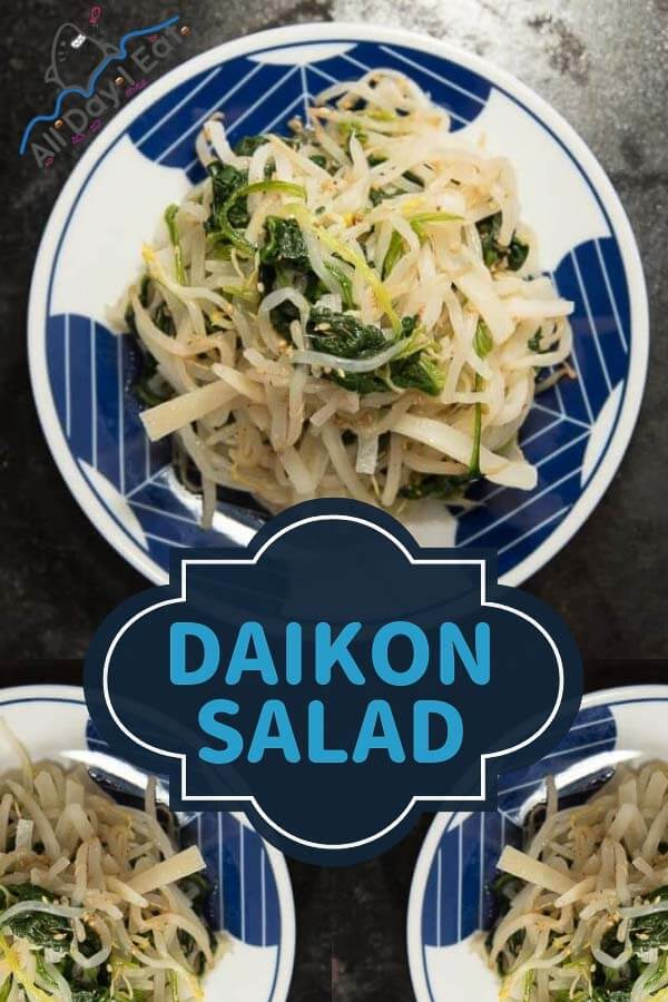 Daikon Salad - japanese radish with spinach and bean sprouts - all day i eat like a shark (1)