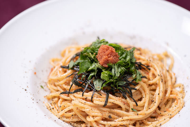 Creamy Mentaiko Spaghetti with cream, butter and soy sauce side