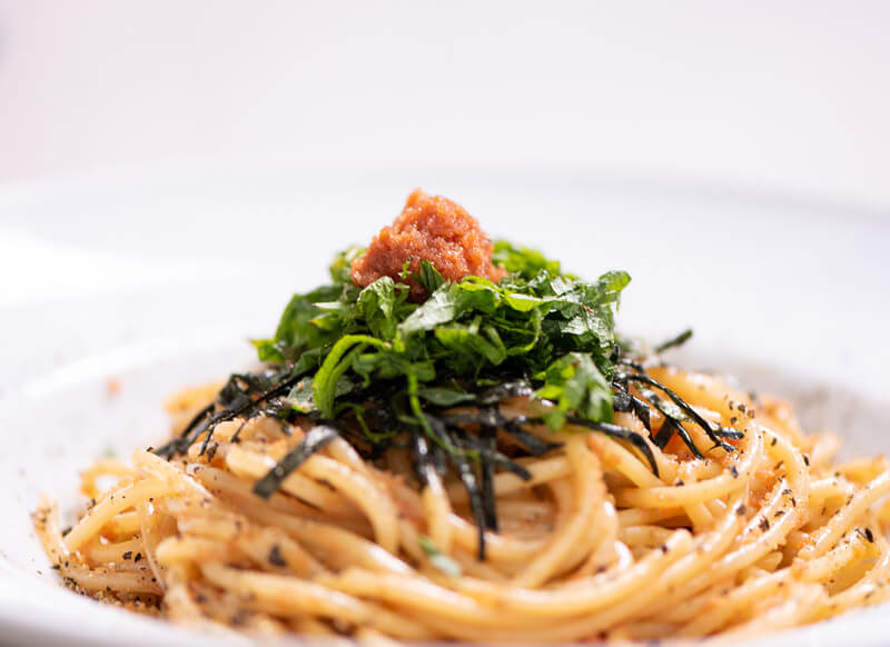 Creamy Mentaiko Spaghetti with cream, butter and soy sauce