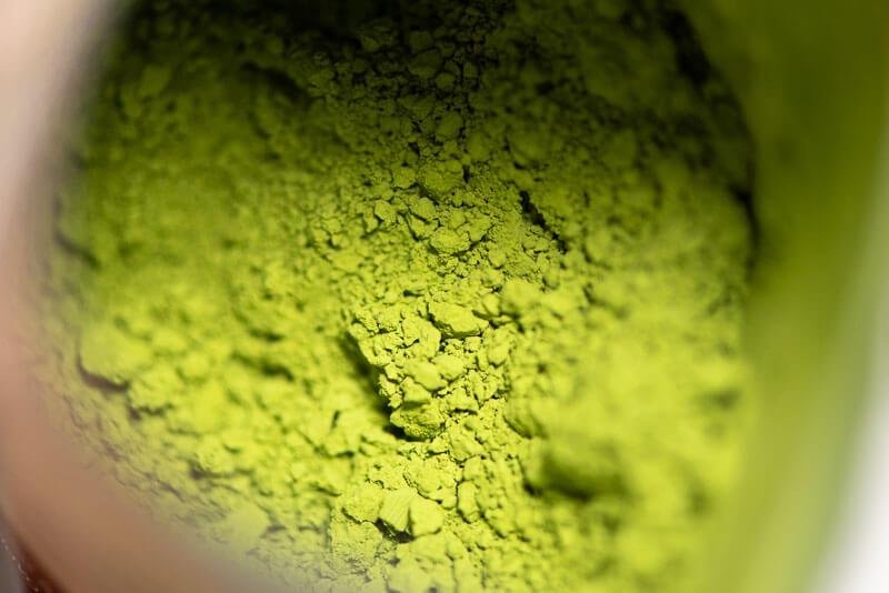 Matcha Purin (Japanese style custard pudding with green tea)-matcha closeup