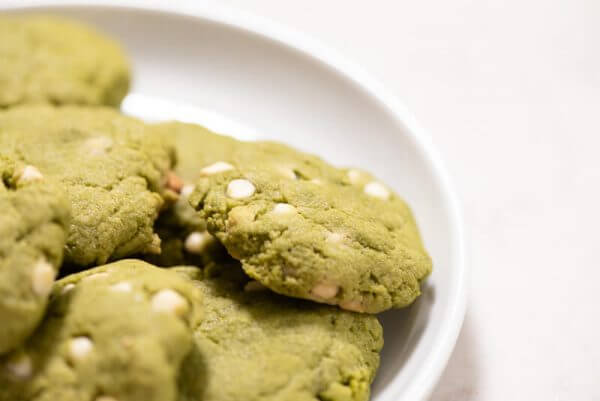 matcha okara cookies with white chocolate all day i eat like a shark