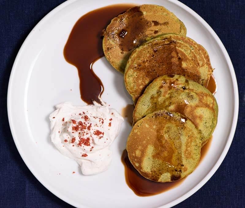 matcha pancakes with kuromitsu and vanilla bean cream overhead