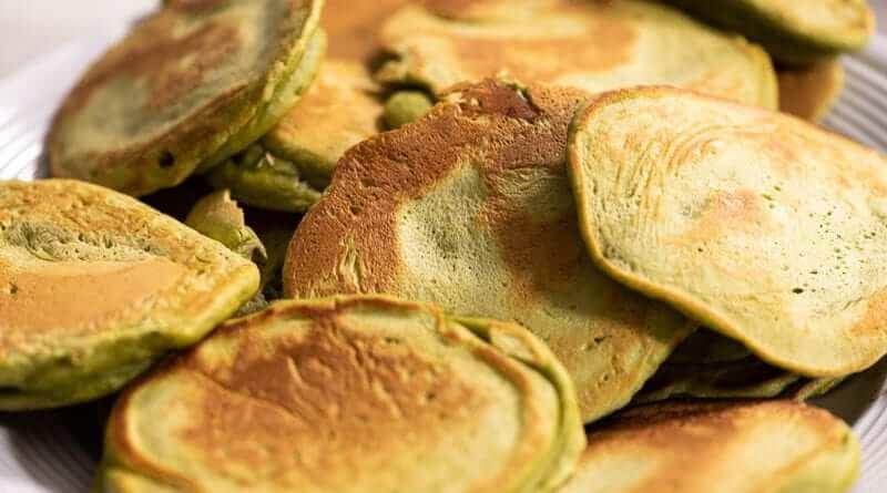 matcha pancake closeup