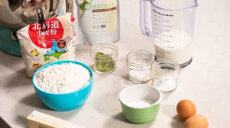matcha pancakes with kuromitsu and vanilla bean cream ingredients
