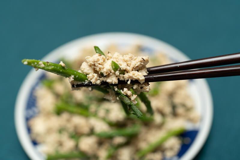 asparagus shira ae closeup japanese tofu