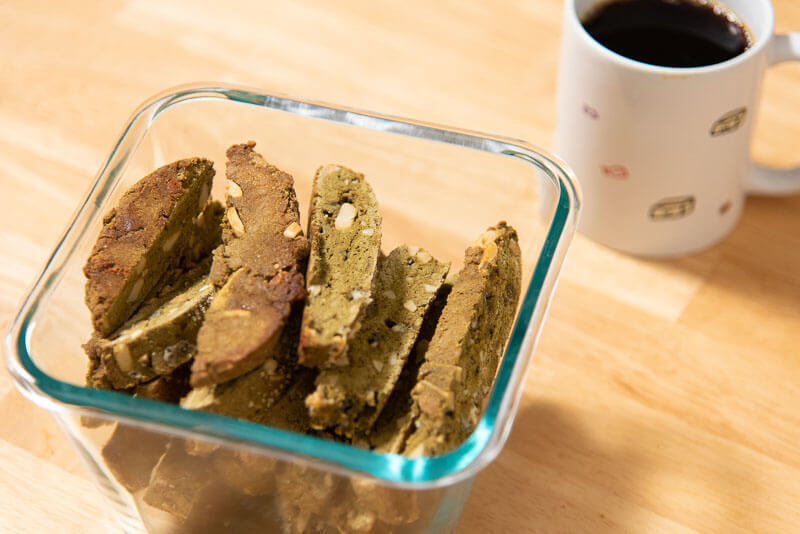 matcha biscotti with whole wheat pastry flour coffee